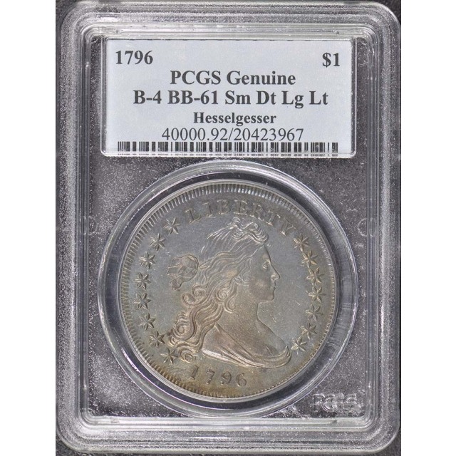 1796 $1 Small Date, Lg Let BB-61 Draped Bust Dollar PCGS Genuine