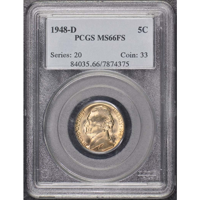1948-D 5C Jefferson Nickel PCGS MS66FS