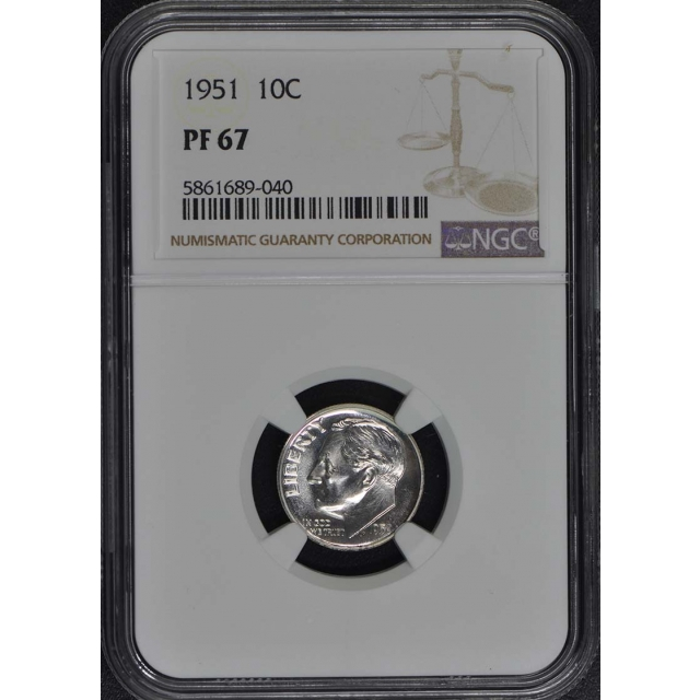 1951 Roosevelt Dime (Silver) 10C NGC PR67