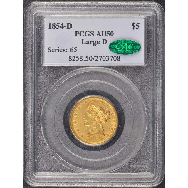 1854-D $5 Large D Liberty Head Half Eagle PCGS AU50 (CAC)