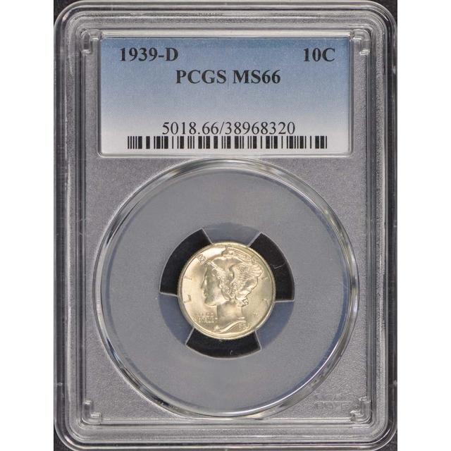 1939-D 10C Mercury Dime PCGS MS66