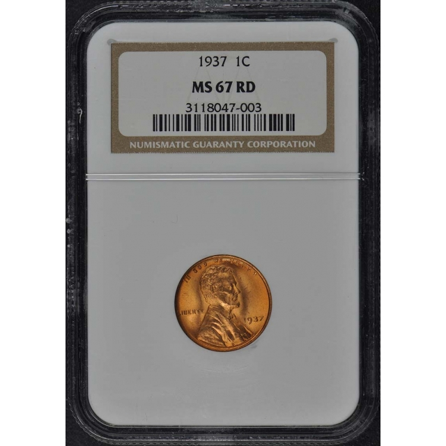 1937 Wheat Reverse Lincoln Cent 1C NGC MS67RD