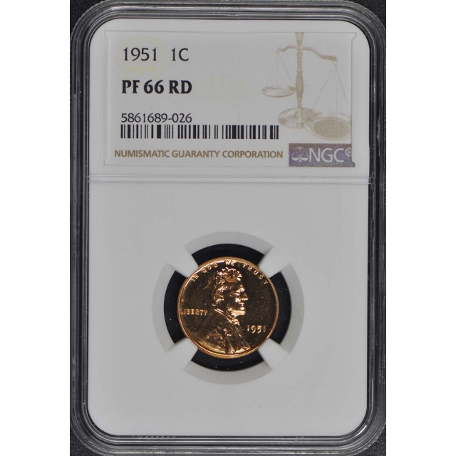 1951 Wheat Reverse Lincoln Cent (Proof) 1C NGC PR66RD