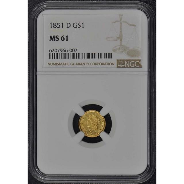 1851-D Gold Dollar - Type 1 G$1 NGC MS61