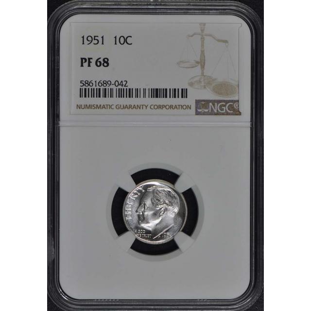 1951 Roosevelt Dime (Silver) 10C NGC PR68
