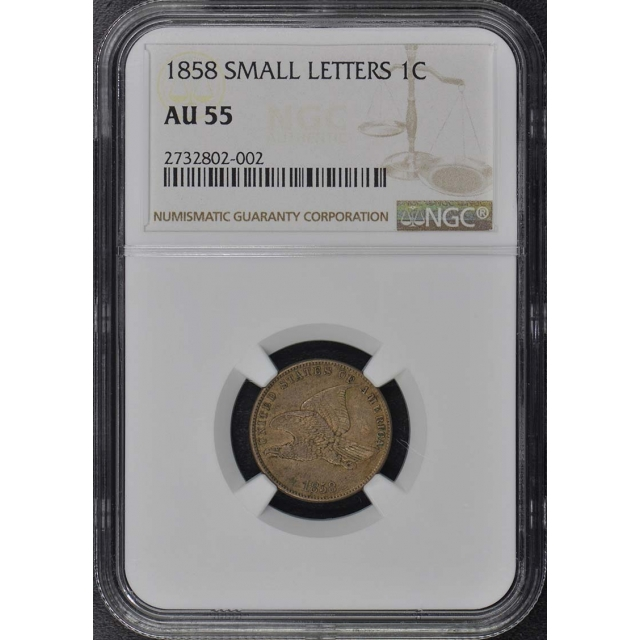 1858 SMALL LETTERS Flying Eagle Cent 1C NGC AU55