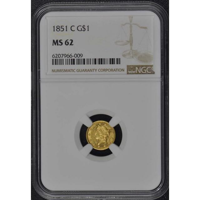 1851-C Gold Dollar Type 1 G$1 NGC MS62