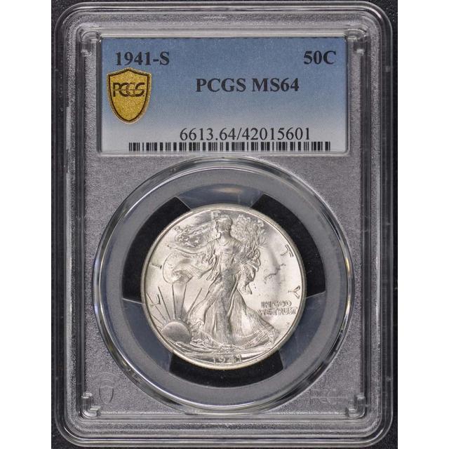 1941-S 50C Walking Liberty Half Dollar PCGS MS64