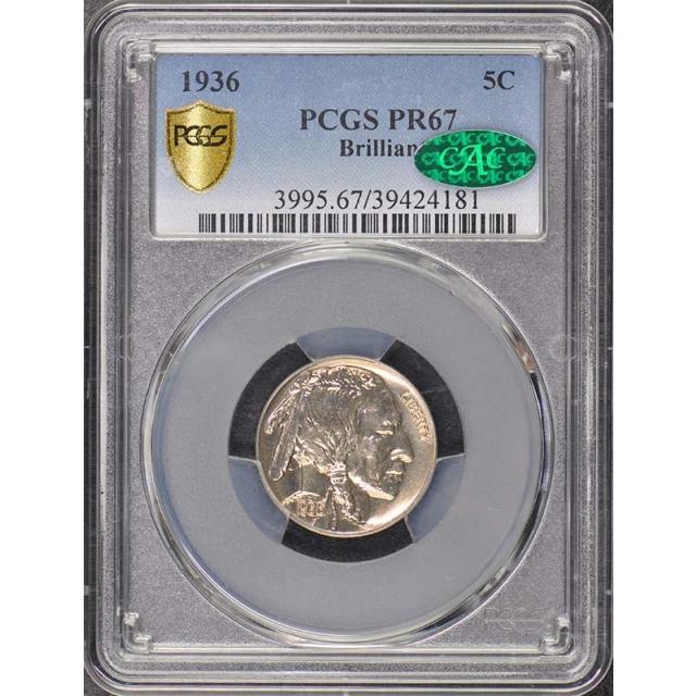 1936 5C Brilliant Buffalo Nickel PCGS PR67 (CAC)