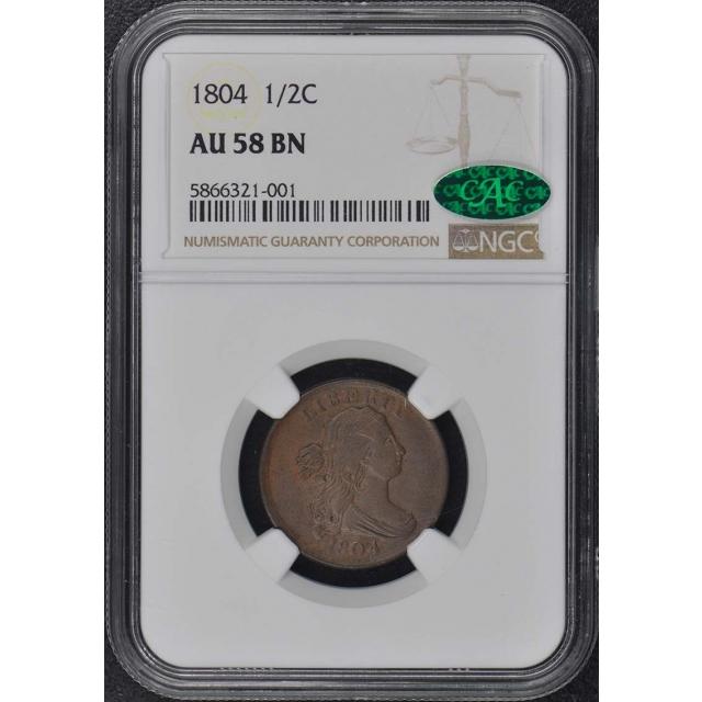 1804 Draped Bust Half Cent 1/2C NGC AU58BN (CAC)