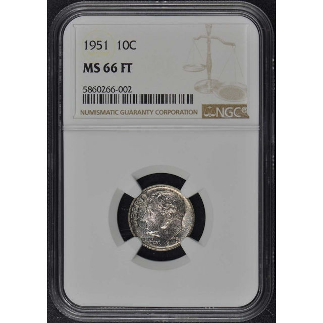 1951 Roosevelt Dime (Silver) 10C NGC MS66FT