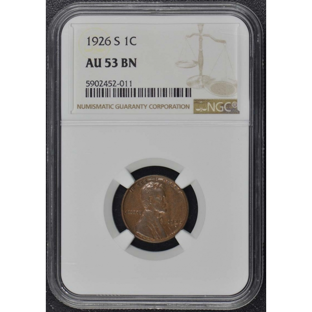 1926-S Wheat Reverse Lincoln Cent 1C NGC AU53BN