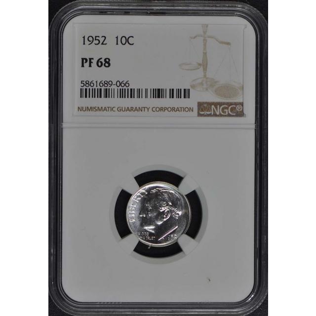 1952 Roosevelt Dime (Silver) 10C NGC PR68