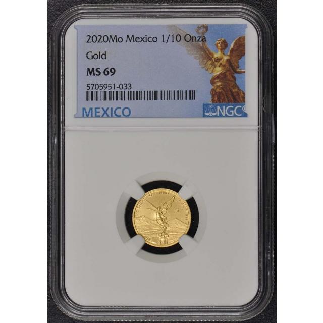 2020 Mo Mexico 1/10 oz Onza Libertad Gold NGC MS69 Mintage 700