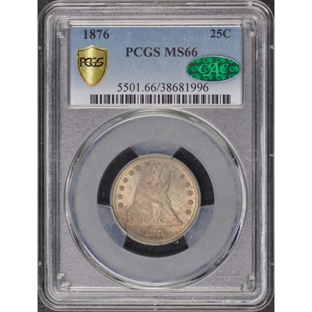1876 25C Liberty Seated Quarter PCGS MS66 (CAC)