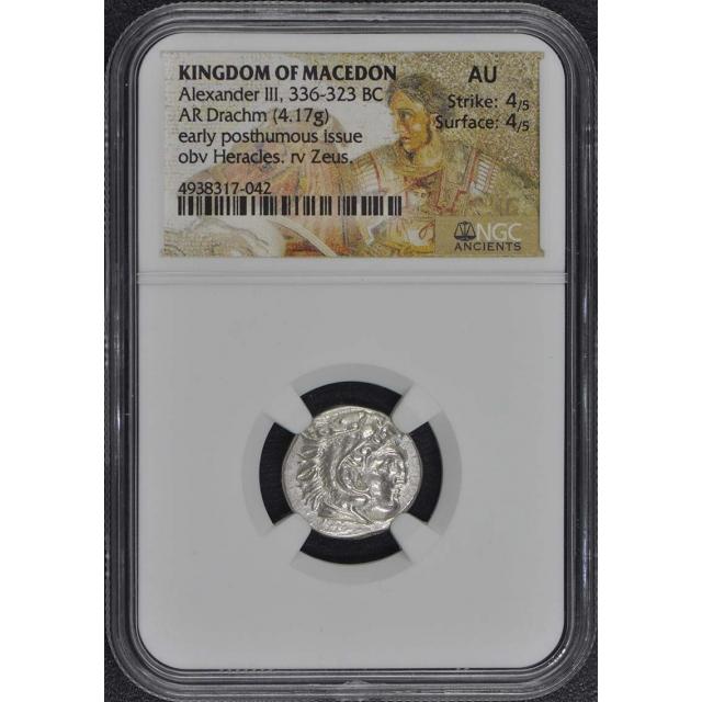 Alexander III, 336-323 BC KINGDOM OF MACEDON AR Drachm NGC AU50