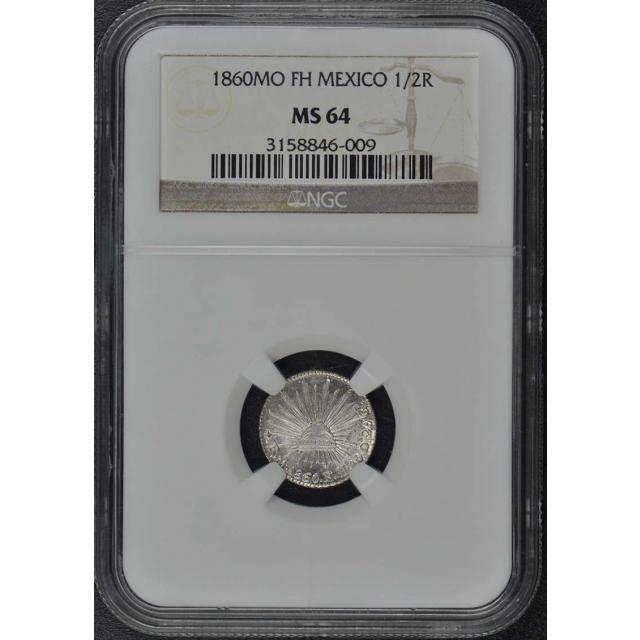 1860MO FH MEXICO 1/2R NGC MS64