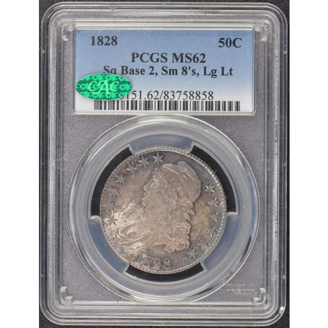 1828 50C Sq 2, Small 8, Lrg Letters Bust Half PCGS MS62 (CAC)