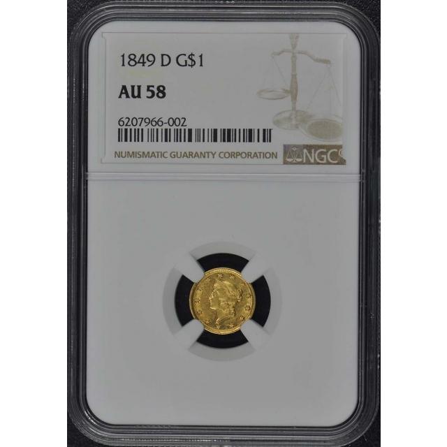 1849-D Gold Dollar - Type 1 G$1 NGC AU58