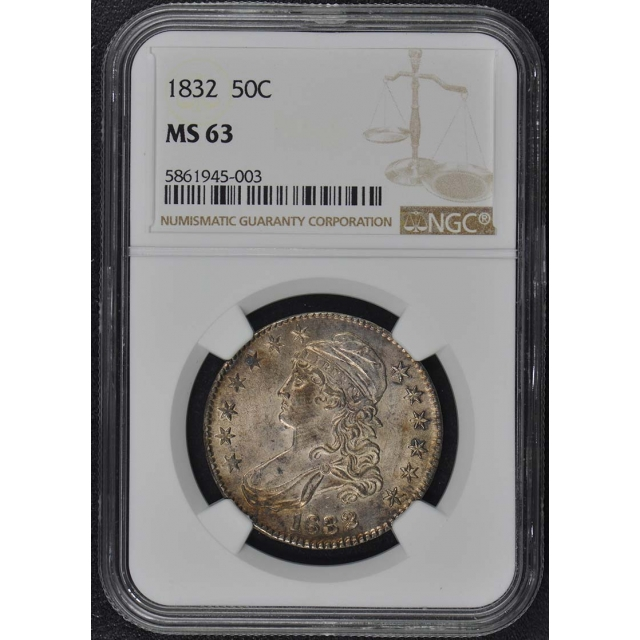 1832 Capped Bust, Lettered Edge 50C NGC MS63