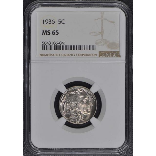 1936 Buffalo Nickel Type 2 5C NGC MS65