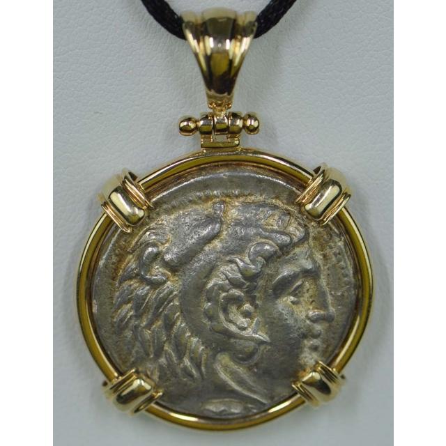 Alexander III King of Macedon 14kt Gold Bezel obv Heracles