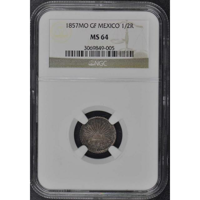 1857MO GF MEXICO 1/2R NGC MS64