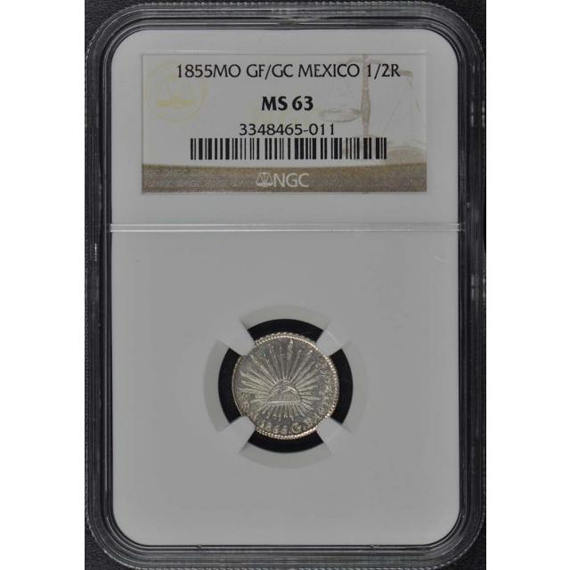 1855MO GF/GC MEXICO 1/2R NGC MS63