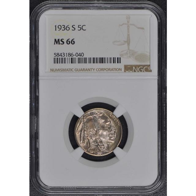 1936-S Buffalo Nickel Type 2 5C NGC MS66