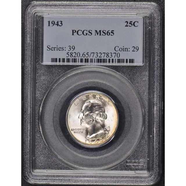 1943 25C Washington Quarter PCGS MS65