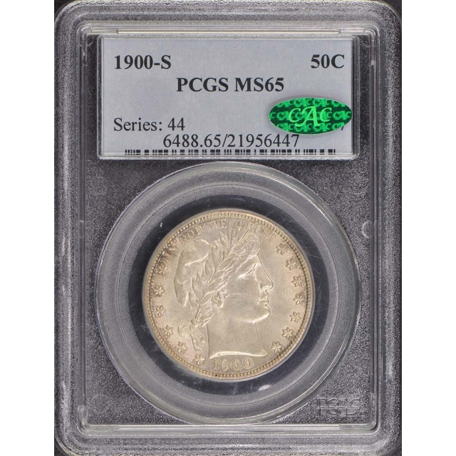 1900-S 50C Barber Half Dollar PCGS MS65 (CAC)