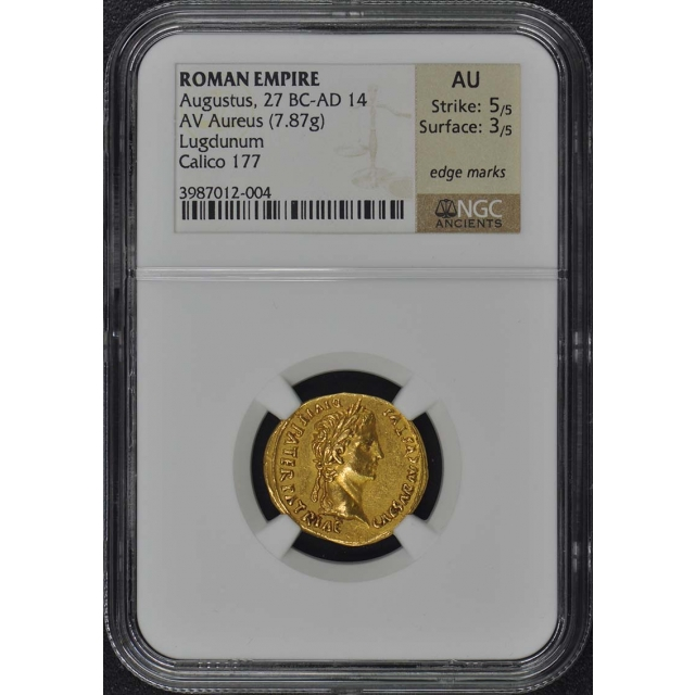 Augustus, 27 BC-AD 14 ROMAN EMPIRE AV Aureus NGC AU50