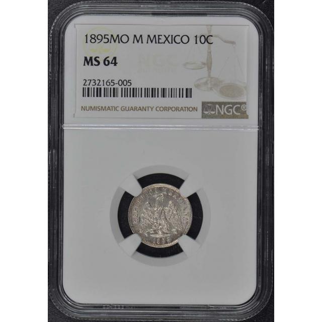 1895MO M MEXICO Ten Centavos Silver 10C NGC MS64