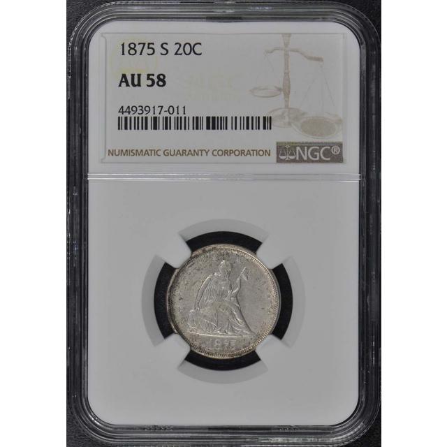 1875-S Twenty-Cent Piece 20C NGC AU58
