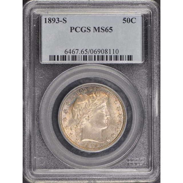 1893-S 50C Barber Half Dollar PCGS MS65