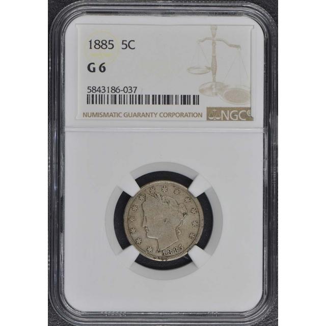 1885 Liberty Nickel 5C NGC G6