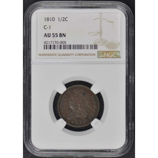 1810 Classic Head Half Cent C-1 1/2C NGC AU55BN