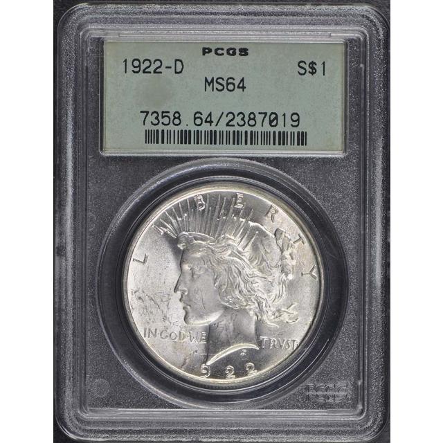 1922-D $1 Peace Dollar PCGS MS64