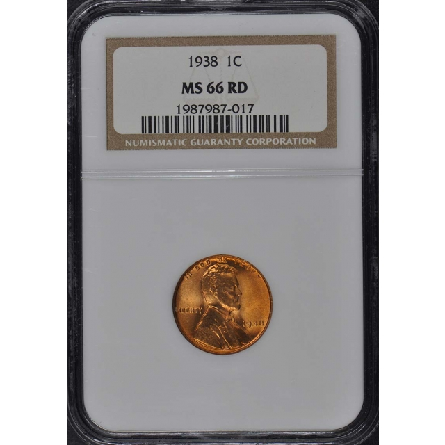 1938 Wheat Reverse Lincoln Cent 1C NGC MS66RD