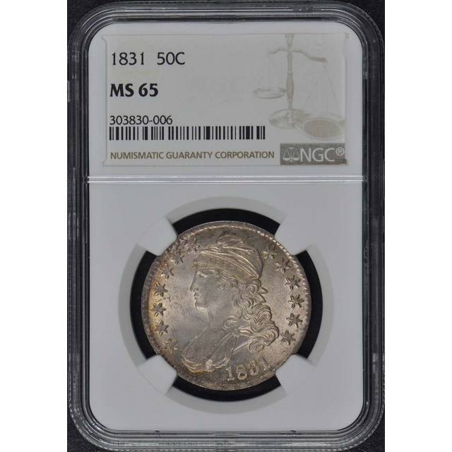 1831 Capped Bust, Lettered Edge 50C NGC MS65