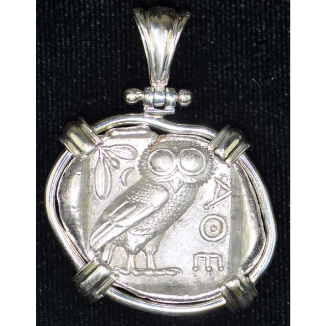 Athenian Owl Sterling Silver Bezel Obv Athena