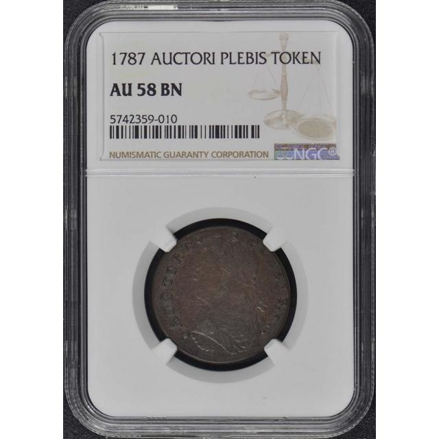 1787 AUCTORI PLEBIS COLONIAL TOKEN NGC AU58BN Pop 3/0