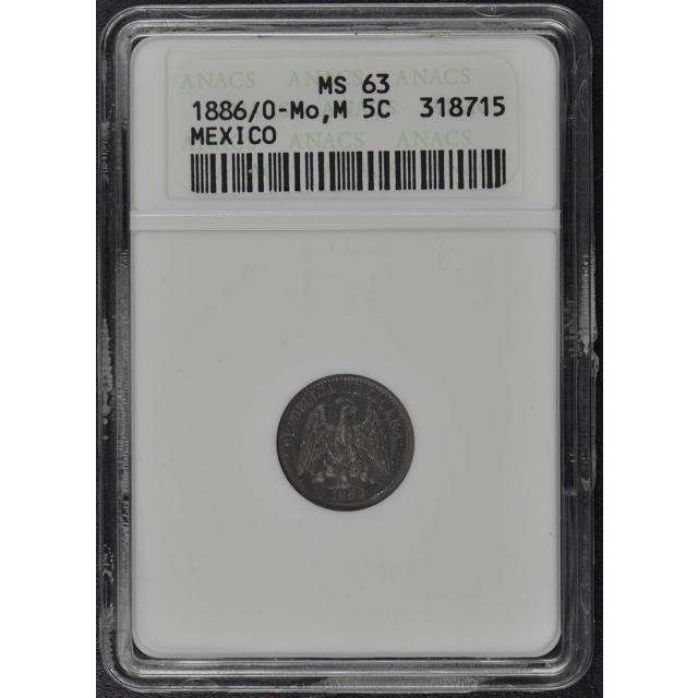 1886/0 MO M Mexico 5 Centavos ANACS MS63