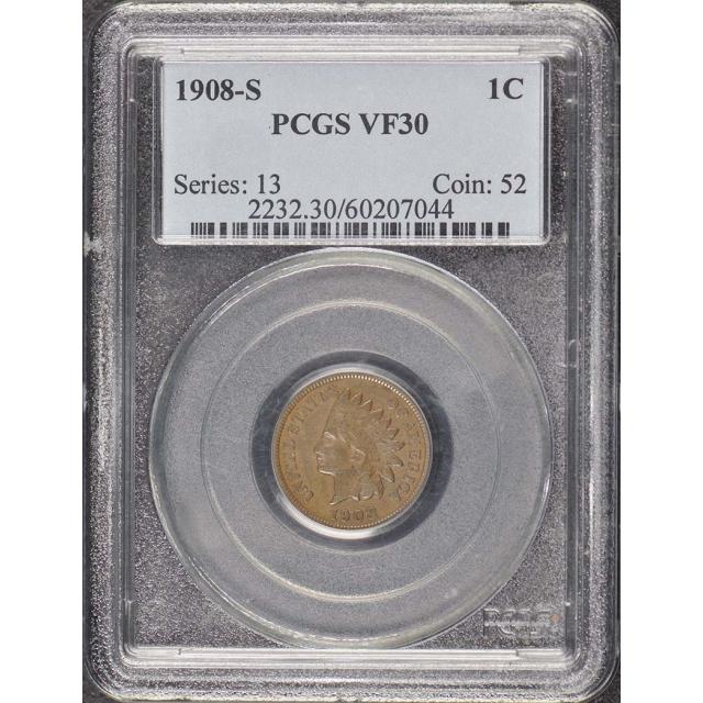 1908-S 1C Indian Cent - Type 3 Bronze PCGS VF30BN