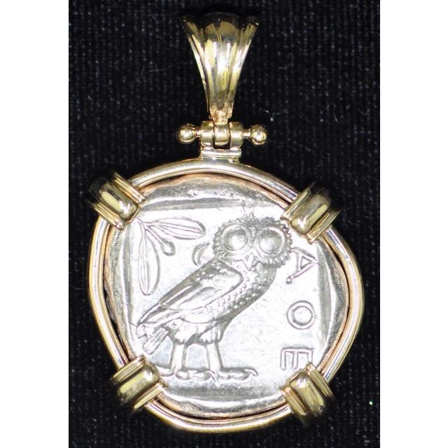 Athenian Owl 14Kt Gold Bezel Obv Athena