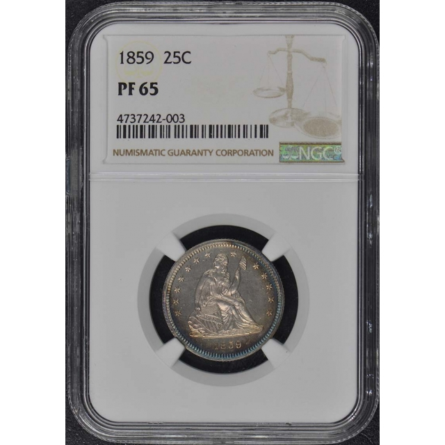 1859 No Motto Seated Liberty Quarter 25C NGC PR65