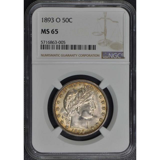 1893-O Barber Half Dollar 50C NGC MS65