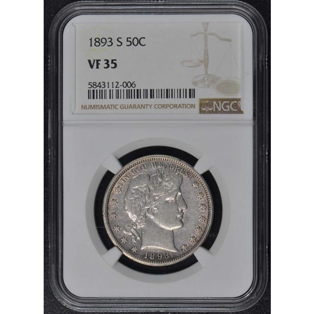 1893-S Barber Half Dollar 50C NGC VF35