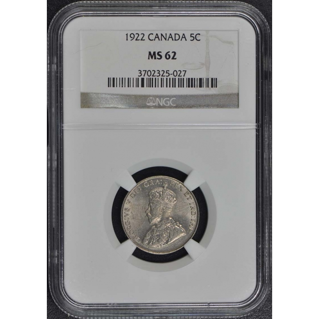 1922 CANADA 5C NGC MS62