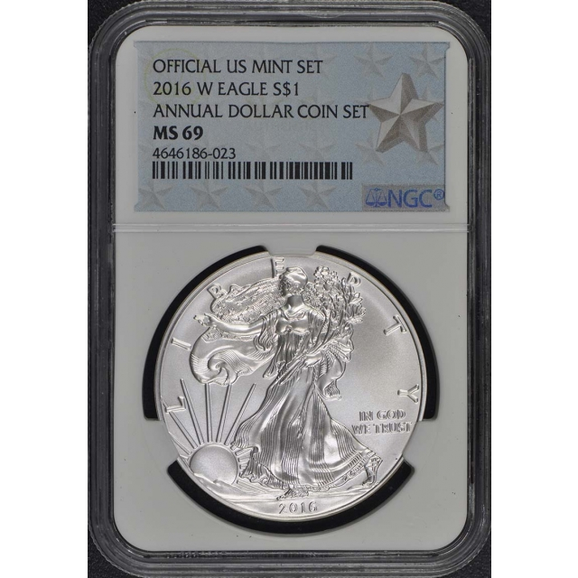 2016 W $1Silver American Eagle NGC MS69